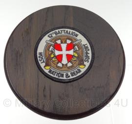 Wandbord Noorse 12th Battaljon Nation and Rear Support - diameter 16 cm - Origineel