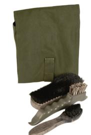 Nederlandse leger KL  schoenpoetsset met houder groen - origineel