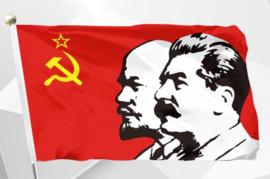 Russische Sovjet-Unie USSR vlag Lenin en Stalin - polyester - 90 x 150 cm - replica
