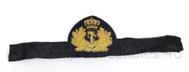 Koninklijke  Marine  Offciers platte pet insigne met band - 29 x 7 cm - origineel