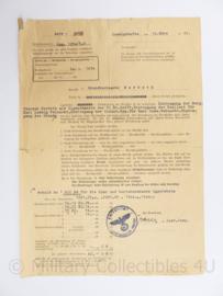 Wo2 Duits document 1942 met adelaar - origineel