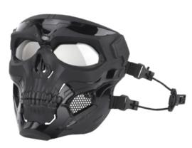 Airsoft Masker SKULL BLACK - MET helmbevestiging EN hoofdbevestiging