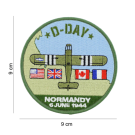 Embleem stof D-Day Normany 6 June 1944  - 9 cm. diameter - WACO glider