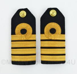 Koninklijke Marine Vintage Officiers epauletten PAAR -Kapitein ter zee - 13 x 6 cm - origineel