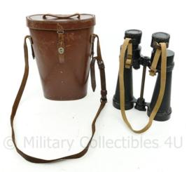 Wo2 Britse leger verrekijker met lederen kokertas  - Binocular 7x  Barr en Stroud 1941 - origineel