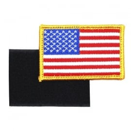 Uniform landsvlag USA - gele rand - met klittenband - 5,2 x 7,4 cm