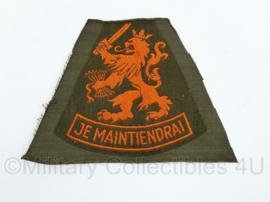Nederlandse Je maintiendrai KL DT mouwleeuw ongevouwen oranje op groen - 11 x 8 cm -  origineel