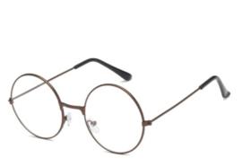 Antieke bril, BRONZE frame met ronde glazen met helder glas (niet op sterkte) - nieuw gemaakt
