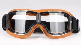 Brommer bril - Bruin leder met heldere glazen