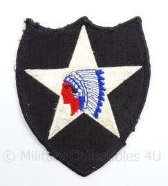 US Army 2nd Infantry Division patch - Indian Head - naoorlogs - afmeting 9 x 11 cm - origineel