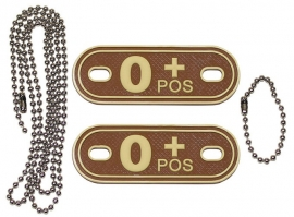 Dogtag ketting met 2 bloedgroep hangers 3D PVC - DESERT - bloedgroep O POS