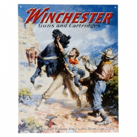 Metalen plaat  - Winchester Guns and Cartridges 32 x 41 cm. (nr. 11)