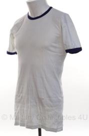 Koninklijke Marine T shirt WIT met blauwe randen - Sport witje Sportwitje - maat 7 = 7585/9505 uit 2004  - gedragen - origineel