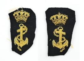 KM Koninklijke Marine kraaginsignes officier PAAR - 4,5 x 8 cm - origineel