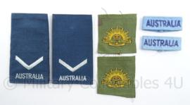 Australische leger insigne set - schouder epauletten straatnamen en eenheid insignes - origineel