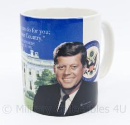 Vintage beker met opdruk President John F Kennedy - 9,5 x 8 cm