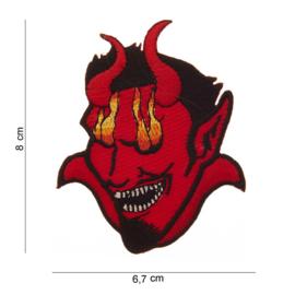 Embleem stof - Flaming Red Devil - met klitteband  - 8 x 6,7 cm.