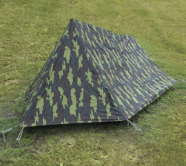 Belgische leger M56 camo tweepersoons tent - 2 x 1,3 m - origineel