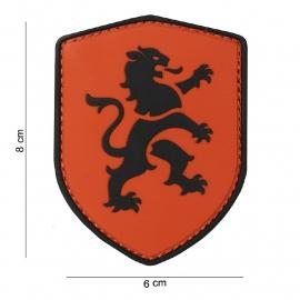 Uniform Nederlandse oranje met leeuw embleem 3D PVC - met klittenband - Schild Hollandse Leeuw Oranje - 8 x 6 cm