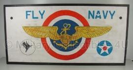 Houten bord Fly Navy - Extra Large  - 122,5 x 60 x 0,8 cm.