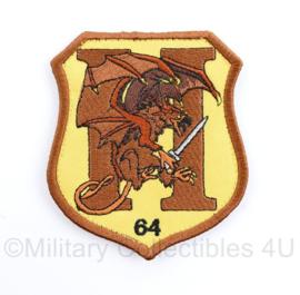 Defensie patch H64 brown/yellow - 9 x 8 cm - met klittenband -  origineel