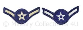 USAF US Air Force rang embleem paar  - Airman  - 10 x 5 cm - origineel