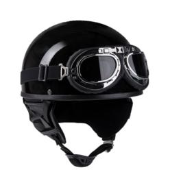 Vintage brommer helm Pothelm - glanzend zwart - maat 55/56 cm