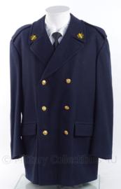 Nederlandse Brandweer dikke wollen mantel met dubbele rij knopen - donkerblauw - origineel