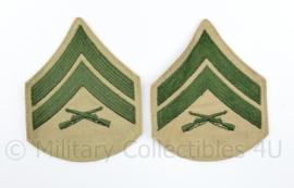 USMC US Marine Corps rang emblemen green on khaki - Corporal - 11,5 x 9 cm - origineel