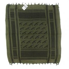 Shemagh PLO sjaal- 110 x 110 cm. - GROEN met AK47 kalashnikovs!