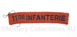 MVO straatnaam  enkel 11de Regiment Infanterie - 10 x 2 cm - origineel