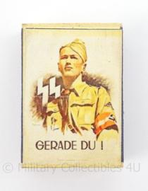 WO2 Duits luciferdoosje van echt hout - Hitlerjugend Gerade Du - afmeting 6 x 4 cm - replica