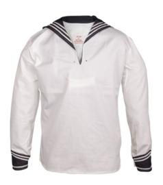 Marine hemd - WIT met donkerblauwe kraag  - nieuw gemaakt
