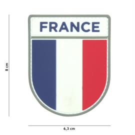 Embleem 3D PVC met klittenband - French army mouwembleem - 8 x 6,3 cm.