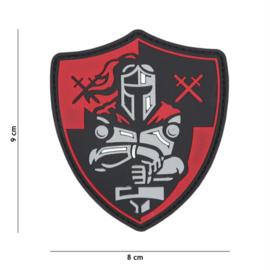 Embleem 3D PVC met klittenband - Ridder Schild - rood - 9 x 8 cm.