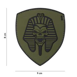 Embleem PVC 3D PVC met klittenband - Farao Skull - groen - 9 x 8 cm