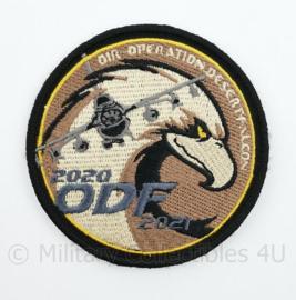 BAF Belgian Air Force en Klu Luchtmacht OIR Operation Desert Falcon ODF 2020-2021 embleem  met klittenband- 9 cm. diameter