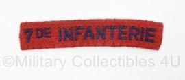 MVO straatnaam  enkel 7de Infanterie - 9 x 2 cm - origineel