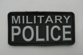 Embleem PVC 3D PVC met klittenband - Military Police  - ZWART - 9,8 x 4,9 cm