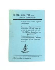 KL Nederlandse leger Regiment Genietroepen Mineurslied - IK GN-15-05-1748 - 15 x 10,5 cm - origineel