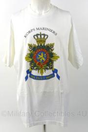 KM Marine Korps Mariniers wit shirt met groot logo op de borst - gedragen - maat XL - origineel