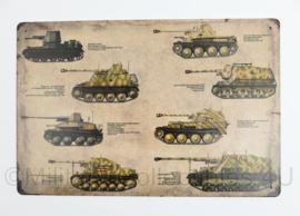 Nieuw gemaakte metalen plaat WO2 Duitse Panzer  - 30 x 20 cm - nieuw