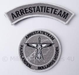 Nederlands Arrestatieteam Haaglanden Hollands Midden embleem set - met klittenband - diameter 9 cm