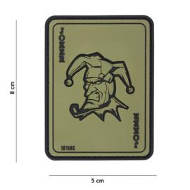 "Embleem PVC 3D PVC met klittenband - ""The Joker"" - groen - 8 x 5 cm."