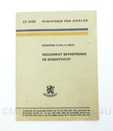 MVO instructiekaart 27-3103 - uit 1954 - reglement betreffende de krijgstucht - origineel