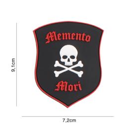 Memento Mori shield skull zwart/rood embleem PVC - 9,1 x 7,2 cm