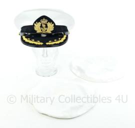 Koninklijke Marine platte pet hoofdofficier KLTZ-KTZ met 2 extra overtrekken - maat 59 - Origineel