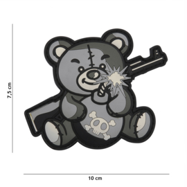 Embleem 3D PVC met klittenband - Terror Teddy Black Grey 10 x 7,5 cm.