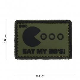 Embleem 3D PVC - met klittenband - Eat My BB'S - groen/zwart - 5,4 x 3,6 cm