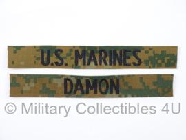 USMC US Marines 'DAMON' branch tape/naamlint SET - marpat woodland camo - nieuw gemaakt